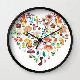 Mushroom heart Wall Clock