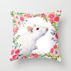 White Rat with Flowers Watercolor Floral Pattern Animal Throw Pillow