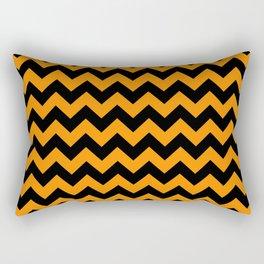 Large Black and Pumpkin Orange Halloween Chevron Stripes Rectangular Pillow