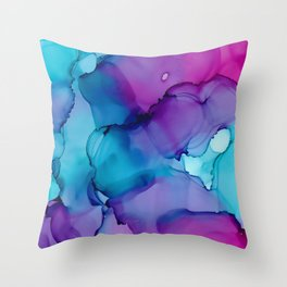 Alcohol Ink - Wild Plum & Teal Throw Pillow