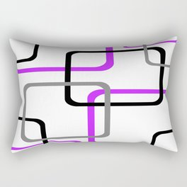 Geometric Rounded Rectangles Collage Purple Rectangular Pillow