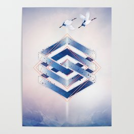 Indigo Hexagon :: Floating Geometry Poster