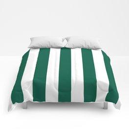 Castleton green - solid color - white vertical lines pattern Comforters