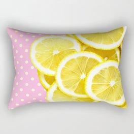 Candy Pink and Lemon Polka Dots Rectangular Pillow