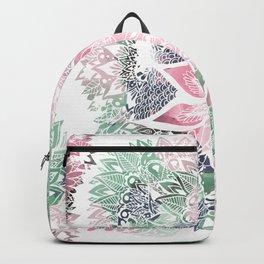 Hand drawn floral mandala pink green garden spring pattern Backpack