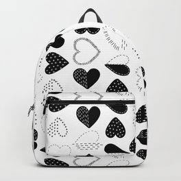 Black and White Patch Boro Embroidery Hearts Backpack