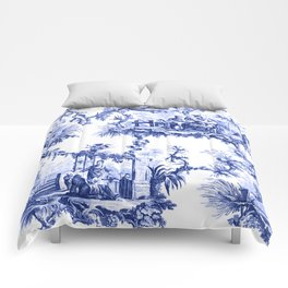Blue Chinoiserie Toile Comforters