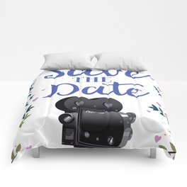 Save the Date vintage movie camera Comforters