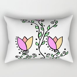Three Tulips Doodle Art – Violet Peach Yellow Rectangular Pillow