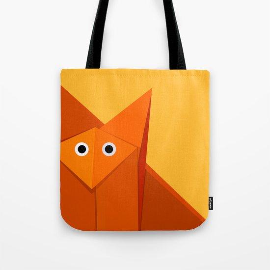 Geometric Cute Origami Fox Portrait Tote Bag