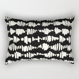 Tribal Song Cream on Black Rectangular Pillow
