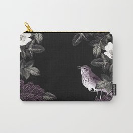 Blackberry Spring Garden Night - Birds and Bees on Black Carry-All Pouch