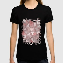 Soft Pink Coral Glamour Gemstone Triangles T-shirt