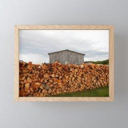 Firewood and Barn Framed Mini Art Print