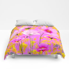YELLOW COSMO FLOWERS  PURPLE ART  PATTERNS Comforters