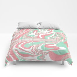 Elegant pink green abstract watercolor marble Comforters