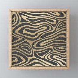 Abstract mauve gray gold elegant marble Framed Mini Art Print