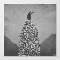The Black Bunny of Doom in his natural habitat Canvas Print