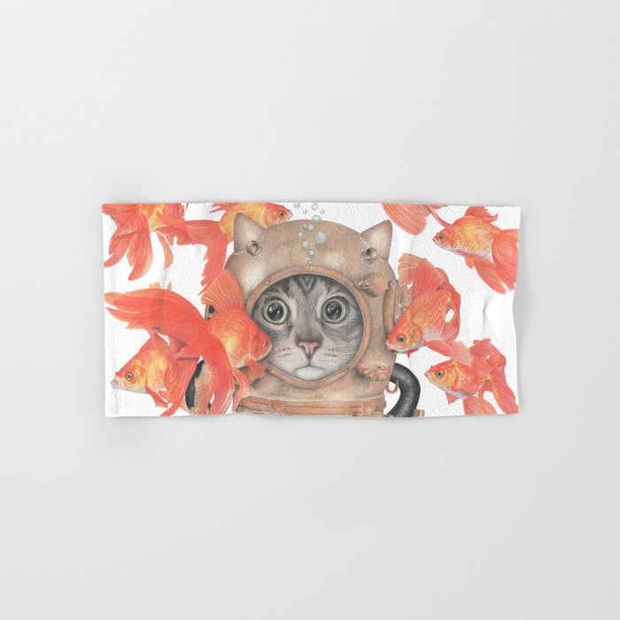Scuba Cat Among the Fishes Hand & Bath Towel