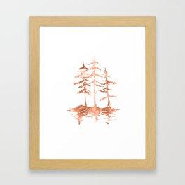 Three Sisters Trees Rose Gold on White Framed Art Print