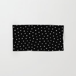 Minimal- Small white polka dots on black - Mix & Match with Simplicty of life Hand & Bath Towel