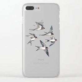 Blue Sky Swallow Flight Clear iPhone Case