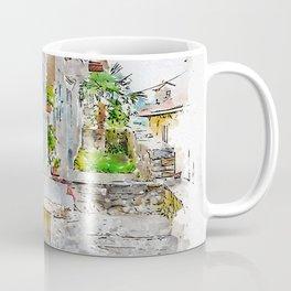 Aquarelle sketch art. Town cobbled street view, region of Istria, Croatia Coffee Mug