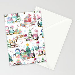 Winter Watercolor Holiday Penguins Stationery Cards