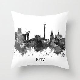 Kyiv Ukraine Skyline BW Throw Pillow
