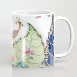 Damask antique floral porcelain china chinoiserie plate of flowers and crane bird vintage photo Coffee Mug