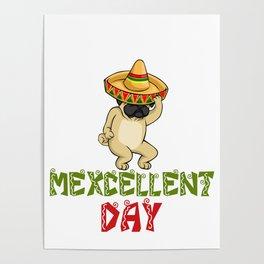 Cinco De Mayo Pug Sombrero - Mexcellent Day Poster