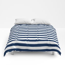 Slate blue and White Thin Stripes - Navy Nautical Pattern Comforters