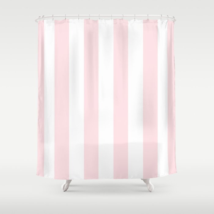 Simply Vertical Stripes Flamingo Pink on White Shower Curtain