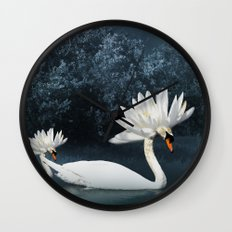 Tribal Swans Wall Clock