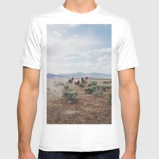 Running Horses LARGE White Mens Fitted Tee