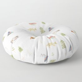 Mountain Camping Pattern Floor Pillow