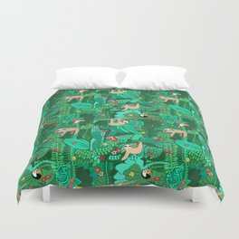 Sloths in the Emerald Jungle Pattern Duvet Cover