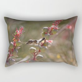 Hummingbird Flying To Red Yucca 1 in 3 Rectangular Pillow