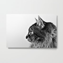 Black and White Fluffy Cat Minimalist Profile Metal Print