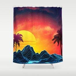 Sunset Vaporwave landscape with rocks and palms Shower Curtain