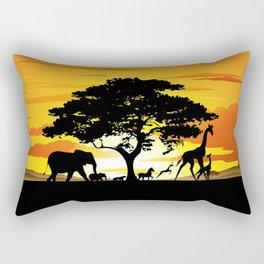 Wild Animals on African Savanna Sunset Rectangular Pillow