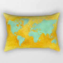 world map gold green #worldmap #map Rectangular Pillow