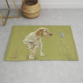 The First Spring Butterfly English Setter Puppy Pastel Drawing on green background Rug