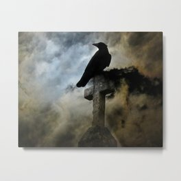 Stormy Clouds And Crow Metal Print