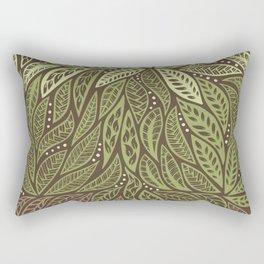 Polynesian Tribal Tattoo Shades Of Green Floral Design Rectangular Pillow