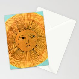 Sun Drawing - Gold and Blue Stationery Cards