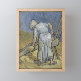 Peasant Woman Bruising Flax (after Millet) Framed Mini Art Print