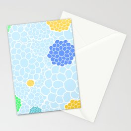 Chrysanthemums in soft pastel blue color shades Stationery Cards