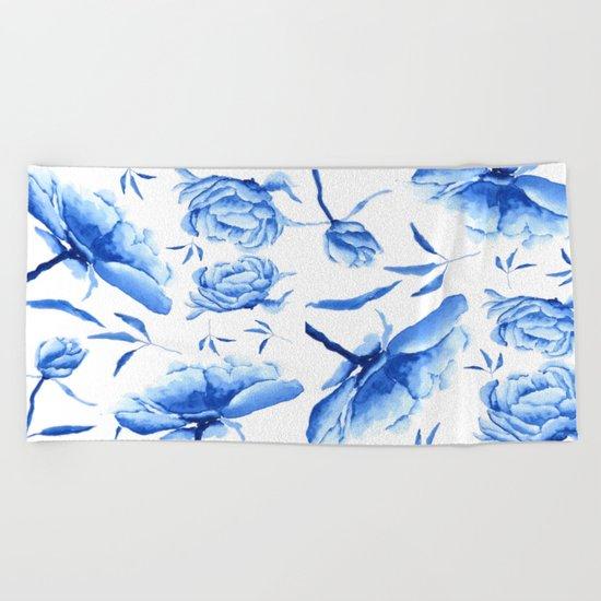 Blue peony 2 Beach Towel