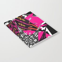 Abstract in callage bright colors and layers of patterns Notebook